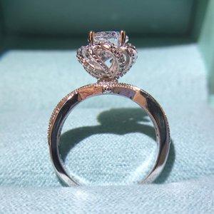 anillo de alta calidad brote genuina fuente del amor de Dios simulación palacio quilates Moissanite compromiso de la boda de la mujer libre del envío
