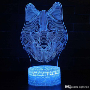 Remote 16 Colors Wolf Head theme 3D Lamp LED night light Color Change Touch Mood Lamp Christmas present Dropshippping