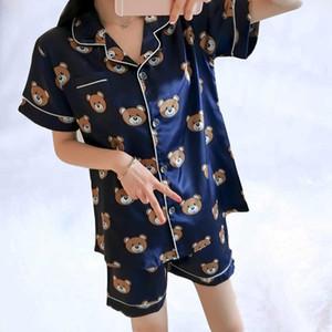 2019 Conjunto de pijamas de seda de manga corta de verano Conjunto de dos piezas Conjunto de ropa de dormir para mujer Ropa de dormir sexy para mujer Pijama para dormir para mujer