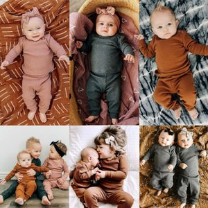 Toddler Kid Baby Girl Boy Winter Clothes Ruffle Striped Top Pants 2Pcs Outfit Set