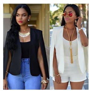 2019 новая мода плащ накидка блейзер женщины пальто белый черный лацкан Сплит карманы с длинным рукавом твердые повседневные пиджаки рабочая одежда