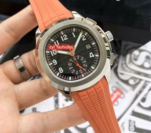 Boutique d'affaires en acier inoxydable Montre d'argent Homme boîtier de la montre avec bracelet en caoutchouc Mouvement automatique Sport Wristwatch