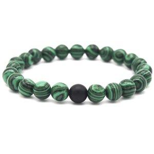 Natürliche Lavasteinen Pin Zubehör 8mm matt schwarz mattierten Stein-Pfau-Perlen-Armband