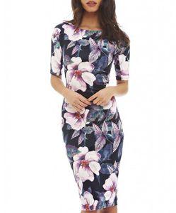 Le donne vestono elegante Floral Print Work Business Casual Party Summer Guaina Vestidos 004-1