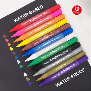 US Stock 12 Colors Set 0.7mm Acrylic Paint Marker pen for Ceramic Rock Glass Porcelain Mug Wood Fabric Canvas Painting On Skin Metal Plastic