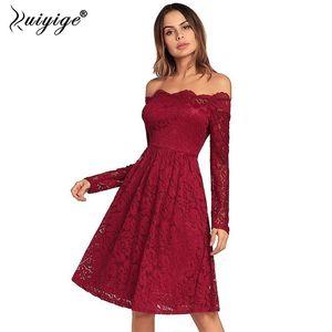 2018 mulheres elegante sweet lace elegante sexy slash neck dress escavar zipper casual party magro praia midi vestidos t190606