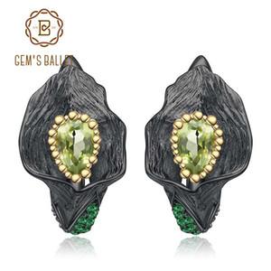 GEM'S BALLET 1.57Ct Natural Peridot Calla Lily Leaf Pendientes 925 Pendientes hechos a mano de plata esterlina hechos a mano para mujeres Brincos