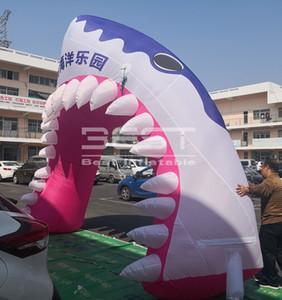 inflable gigante del arco tiburón inflable de pescado para la decoración personalizada evento forma de arco tiburón inflable para la fiesta de la raza