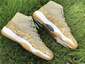 Authentic 2020 New 11 Wmns Neutral Olive Lux Wheat 11s Women Casual Shoes Gs Gold Suede Real Carbon Fiber 378037 -016 Athletic Sneakers