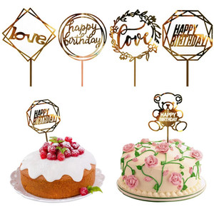 50 Styles Cupcake Cake Topper Happy Birthday Cake inserti Cake Top Flags per Love Family Birthday Party Forniture per la decorazione di cottura