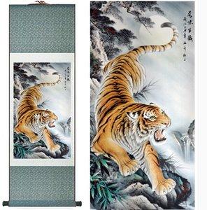 Tiger Pittura Pittura Chinese Traditional Art di scorrimento art seta della decorazione Painting1906141510 Ufficio Tiger Bvghw