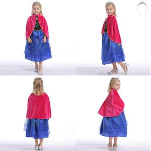 Prenses Anna Elbise kız prenses Fantezi Elbise çocuklar Cosplay Kostüm giyim kız Parti atkı ve şapkaya sahip elbiseler göstermek
