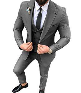 Erkekler Suits Biçimsel Wedding için 3 adet Casual Groomsmen Ordusu Yeşil Şampanya Yaka İş Smokin (Blazer + Pantolon + Yelek)