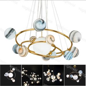 Lampes de pendentif modernes Chandeliers de verre nordique Lune Terre Style G9 110V 220V lumières suspendues pour magasin de vêtements Cafe Restaurant Bar DHL