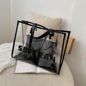 Spalla di Modo Delle Donne di Grande Capacità Tote Bag Femminile Nuova Lettera di stampa pulito Casual Shopping Bag 2-pcs Borse Da Viaggio
