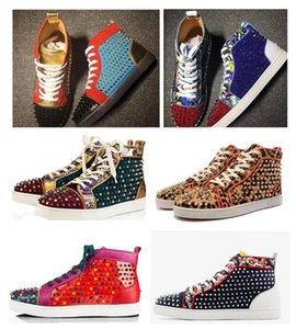 남성 캐주얼 여성을위한 2020 새로운 레드 바지 하이 힐 운동화 신발 야외 바닥 패션 고전 리벳 빨간색 망 캐주얼 신발을 CHAUSSURES