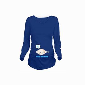 Godier Femmes Automne Enceinte T-shirt Costume Drôle Grossesse Coton T-shirts Casual À Manches Longues Vêtements De Maternité Tees Tops