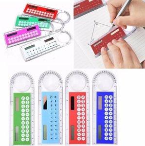 Nuovo mini plastica portatile a energia solare calcolatrice multifunzione creativo Righello studenti regalo 20pcs Epacket
