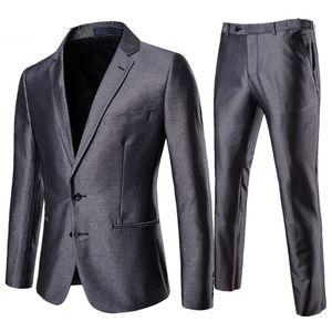 Hommes Gris Costume d'affaires Pantalon Blazer formel Slim Fit 2 Piece Suit Set pour le mariage Groom belle fête Tuxedo Homme