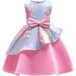 2-10 Ans Enfants Vêtements Vêtements Enfants Fille Stripe Arc Princesse Robe Pour La Fête De Fille D'anniversaire Festive Rose Fleur Robes De Fille J190505