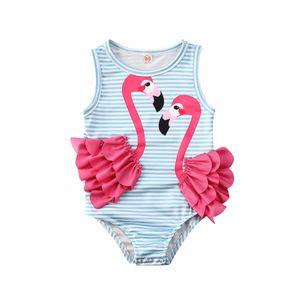 Flamingo Kid Baby Girl One Piece Бикини Купальники Купальный Костюм Малыш Купальник Праздничная Мода Пляжная Одежда Полосатый Монокини