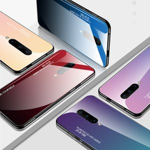 Gradyan temperli cam Telefon Kılıfı için OnePlus 8 8Pro 7T Pro Darbeye Silikon Kılıf için OnePlus 7 7Pro 6T 6