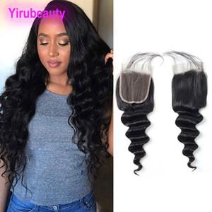 Peruana solto profunda 4X4 Lace Encerramento com o cabelo do bebê Natural Color Virgin Humano Top Cabelo Closures 4 por 4 Lace Encerramento