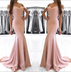 Cheap Dusty Rosa spalle Prom Dresses sirena vintage guaina abito di sera convenzionale lungo di raso partito da damigella d'onore BM0983