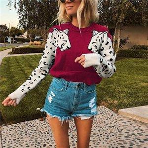 Padrão de venda quente! Leopard Womens Designer Camisolas Moda manga painéis capuz do pescoço de grupo das mulheres Camisolas Casual fêmeas roupa