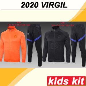 2020 Netherlands Jacket kids Kit Soccer Jerseys New National Team VIRGIL VAN DIJK DE LIGT STROOTMAN Black Orange Child Kit Football Shirt