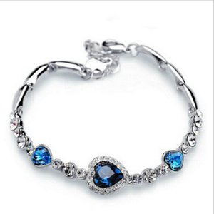Bracelets Silver Cuff Charm Bracelet Crystal Heart Bangle Bracelets For Girl Party Gift Fashion Jewelry Wholesale Free Shipping 0284WH