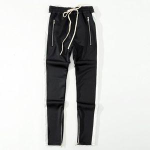 2018 New bottoms side zipper pants hip hop Fashion urban clothing FOG Joining together jogger pants Black red blue 0UB4