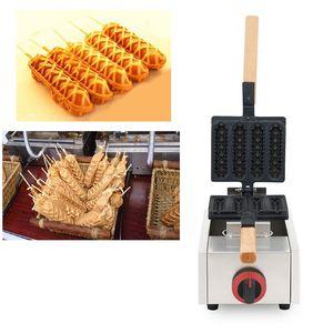 Fransa ve Filipinler Popüler Gaz Muffin Hot Dog Makinesi 4 adet Mısır Köpek Çıtır Sosis Makinesi Waffle Stick Baker Demir Yapma Pan