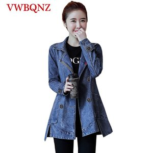 Double-breasted Women Denim Jacket Basic Coat 2020 Spring Autumn New Loose Vintage Long Jeans Jacket Casual Denim Windbreaker