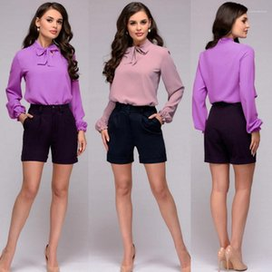 Casual Loose Summer Womens Sundress Light Purple Bow Sexy Womens Designer Shirts OL Style Long Sleeve Solid Color Pullover Blouses