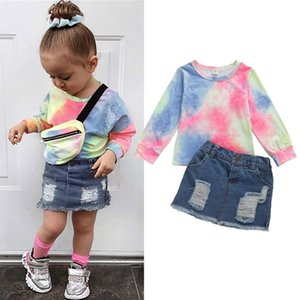 2020 Fashion Infant Baby Girls Clothes Sets Print Long Sleeve T Shirts Tops+Denim Skirts 2pcs