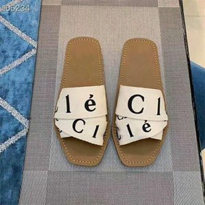 Summer de la nueva marca manera de la mujer al aire libre Peep Toe Mujeres zapatillas planas Cartas elástico zapatillas populares Cruz tela Vacaciones deslizadores ocasionales