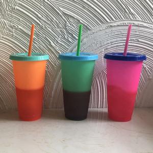 Abnehmbarer Plastikbecher Farbwechsel Seiten Wasserflaschen Isolierte Becher Hitzeschutz Tragbarer Wasserbecher Mit Strohhalm 3 Farben RRA1751