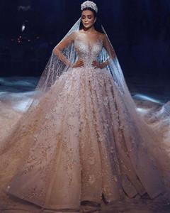 Lüks Abiye Gelinlik 3D-Floral Aplikler Dantel Sheer Boyun Gelinlik Gelin Törenlerinde İnciler Boncuk robe de mariée