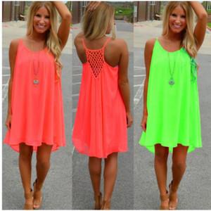 Yaz Seksi Spagetti Kayışı Elbiseler Bayan Hollow Out Kolsuz Doğal Şifon Elbiseler Bayanlar Günlük Elbiseler Katı Kulübü Elbise Trend