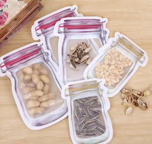 Mason Jar Shaped Zipper Food Storage Bag Reusable Bulk Food Storage Container Cookie Snacks Candy Leak-proof Bags Kitchen Organization Bags
