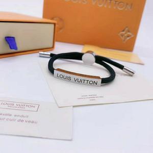 Novo padrão com caixa de luxo de jóias pulseira mulheres coloridas Cadeia de aço inoxidável mão corda pulseira LV designer de pulseira gif 789
