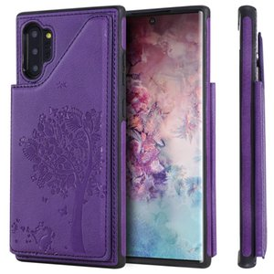 For Galaxy Note 10+ Cat Tree Embossing Pattern Shockproof Protective Case with Card Slots & Photo Frame & Holder