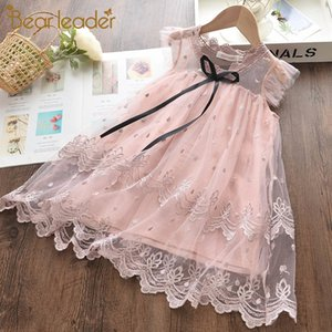 Bear Leader Girls Dress 2020 New Summer Mesh Girls Clothes Pink Applique Princess Dress Children Summer Clothes Baby Girls Dress CX200603