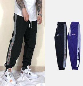 2019 trousers popular stitching ribbon reflective men and women casual retro couple hip hop street sweatpants 3M reflective sweatpants