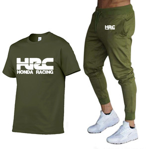 Mode-Sommer-Männer-T-Shirt HRC-Rennen Motorrad-beiläufiger kurzer Ärmel Rundhals Baumwolle Männer T-Shirt + pants 2 Stück Klage