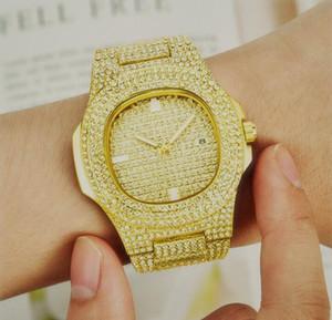 Iced Out ouro Big Luxo Homens Mulheres praça cheia de aço inoxidável Presidente Automatic Negócios Homens Diamante Relógios de pulso Relógios