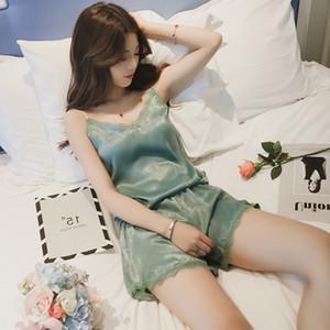 pijamas original PKSAQ de las mujeres ropa de noche atractiva Conjunto de pijama de raso otoño del resorte de encaje sin mangas femenina Homewear tapa y los cortocircuitos