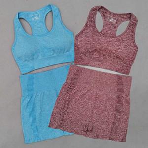 النساء سلس الحيوية مجموعة اليوغا تجريب الملابس الرياضية السراويل الرياضية للياقة البدنية البرازيلي 2 قطعة الرياضة البدلة أنثى الصيف ملابس رياضية