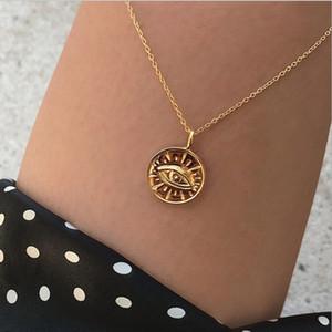 Großhandel Mode Gold / Silber Farbe Evil Eye Charm Anhänger Halskette Runde Münze Geometrische Halskette Kette Für Frauen Dame Schmuck